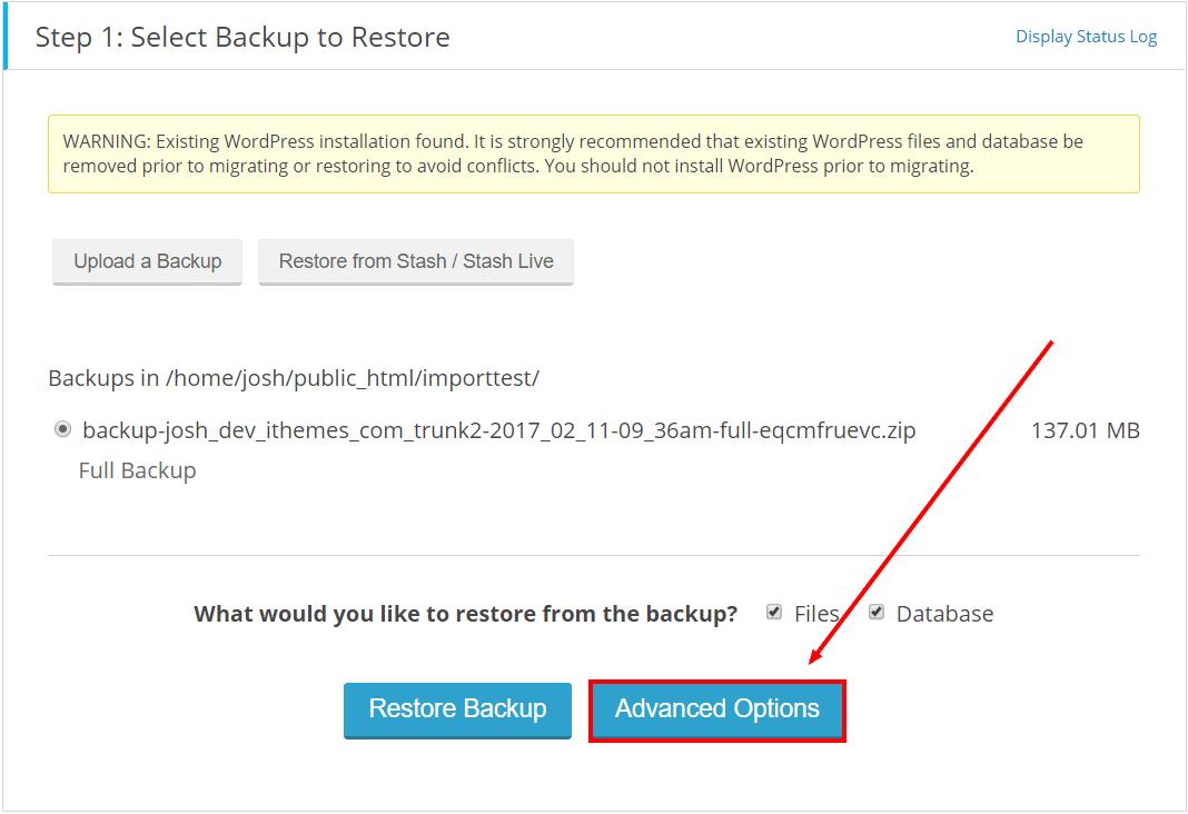 تنظیمات پیشرفته برای بازگردانی وب سایت