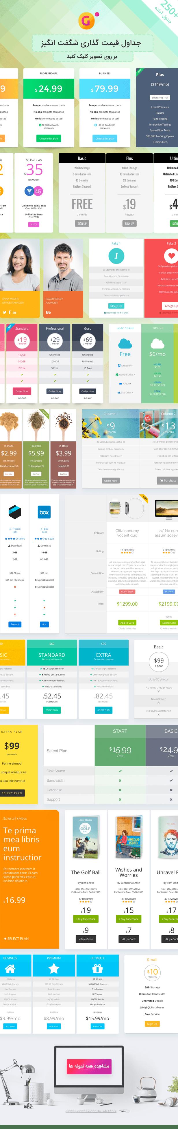 نمونه جداول افزونه Go pricing