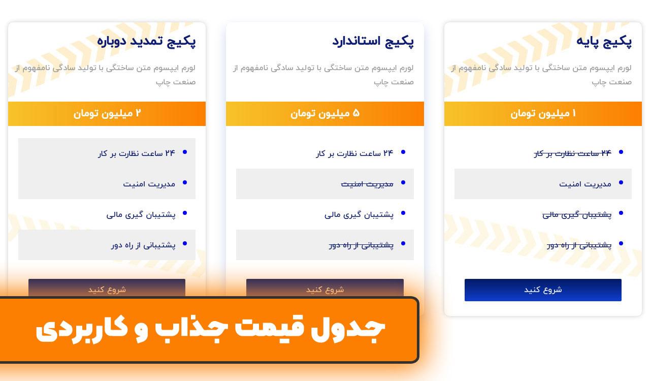 جدول قیمت در سایت آماده ساختمان سازی برای وردپرس